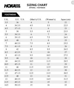 Hoka Size Chart